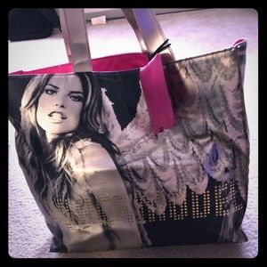 Large Victoria's secret tote! Black gold and pink